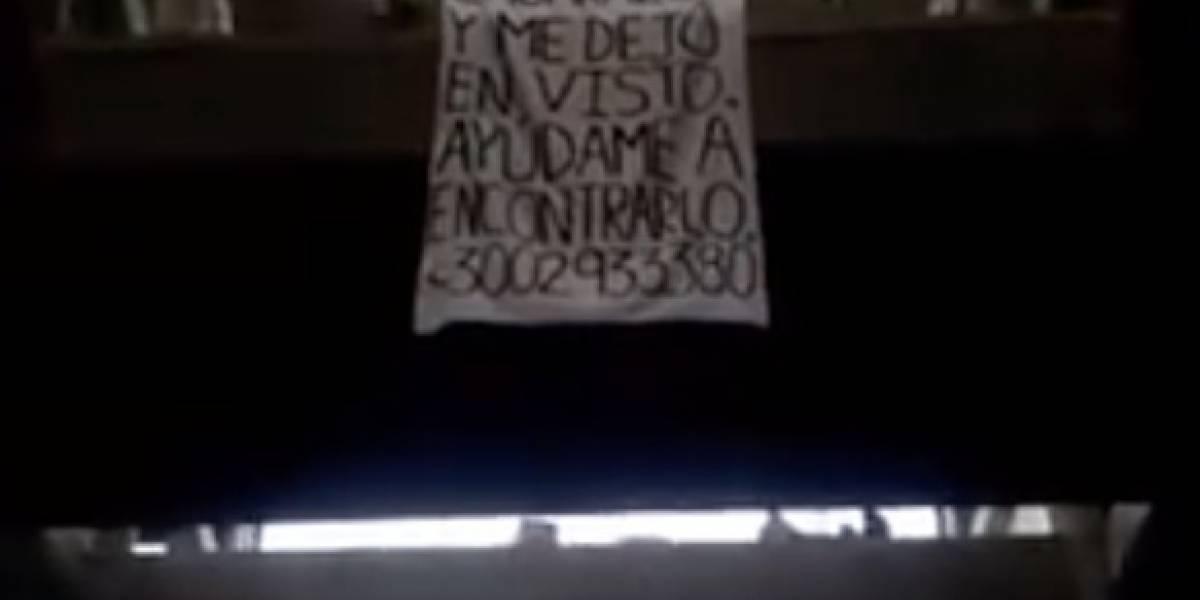 """Video: con curioso cartel buscan a """"Juan"""" por dejar en visto a la mujer que supuestamente embarazó"""