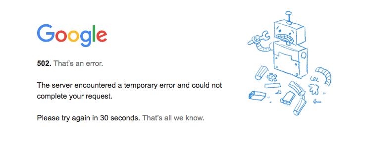 Reportan caída de varias plataformas de Google