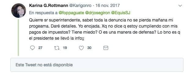 Tuit de Karina González