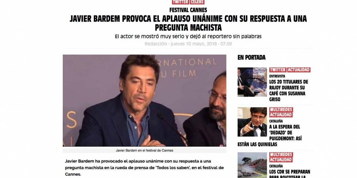 """""""Se quedó sin su momento de gloria"""": Así informó la prensa internacional la desatinada pregunta de Gonzalo Feito a Javier Bardem"""