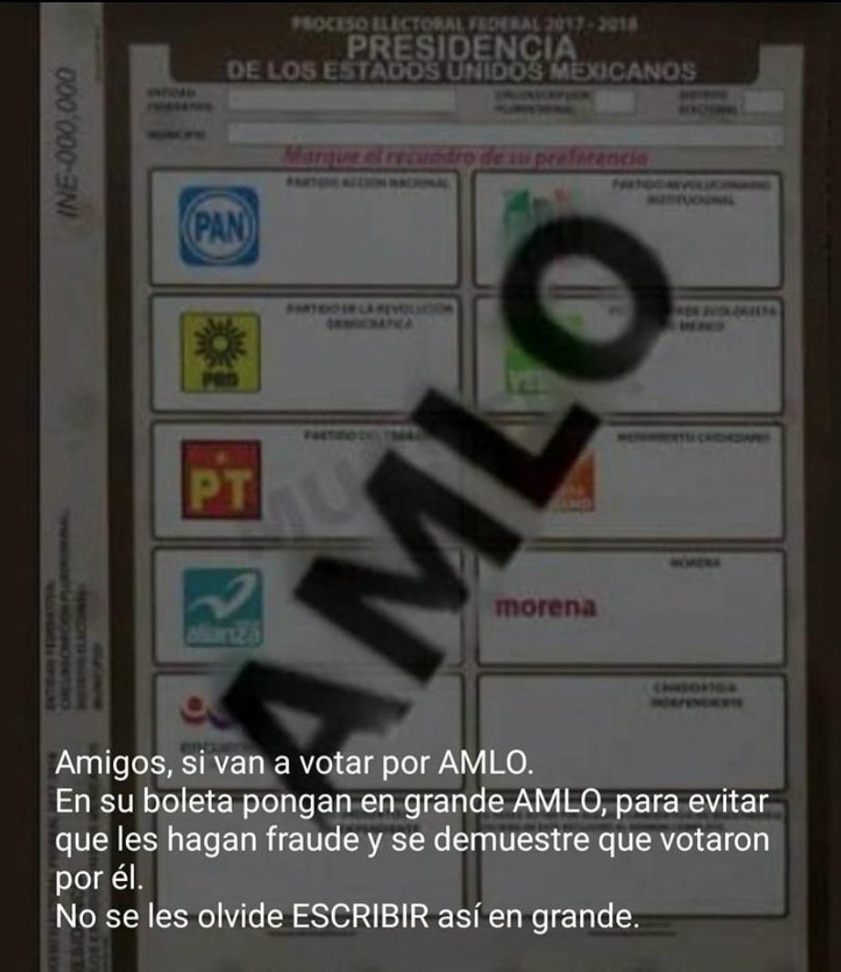 México, cuidado: Imagen falsa en redes sociales engaña a los votantes de AMLO para anular su voto