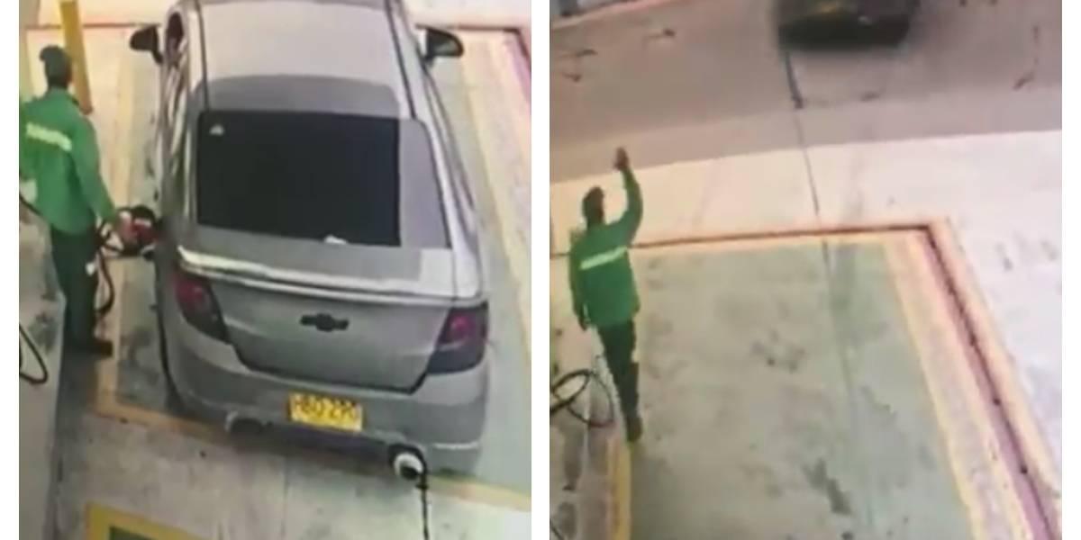 Video: Pidió que le tanquearan el carro y luego se fue sin pagar de la estación de gasolina en Bogotá
