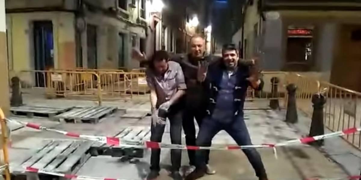 Video: Hombres ebrios sufren incidente por jugar en zona restringida