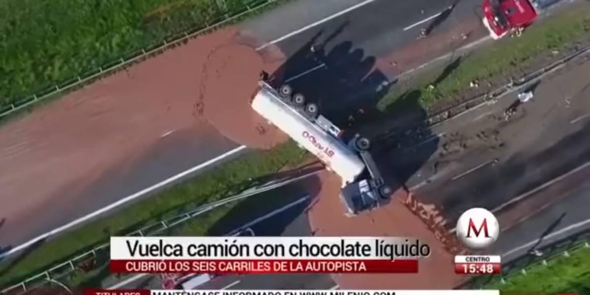 Doce acidente: carreta carregado de chocolate tomba em rodovia na Polônia