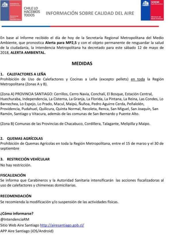 Comunicado Intendencia RM