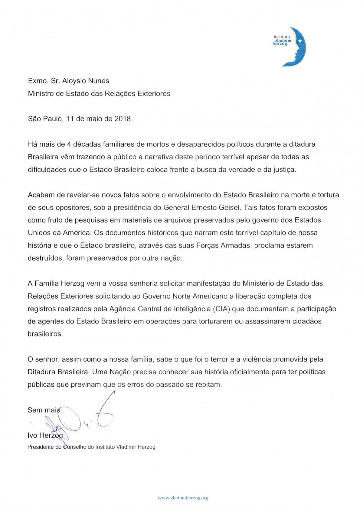 carta filho Vladimir Herzog