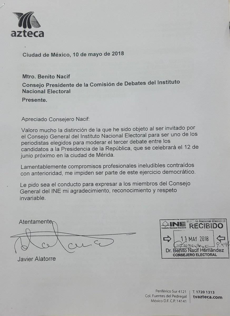 Carta de Javier Alatorre rechazando el debate