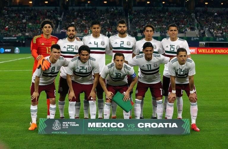 El equipo nacional de México antes de un amistoso