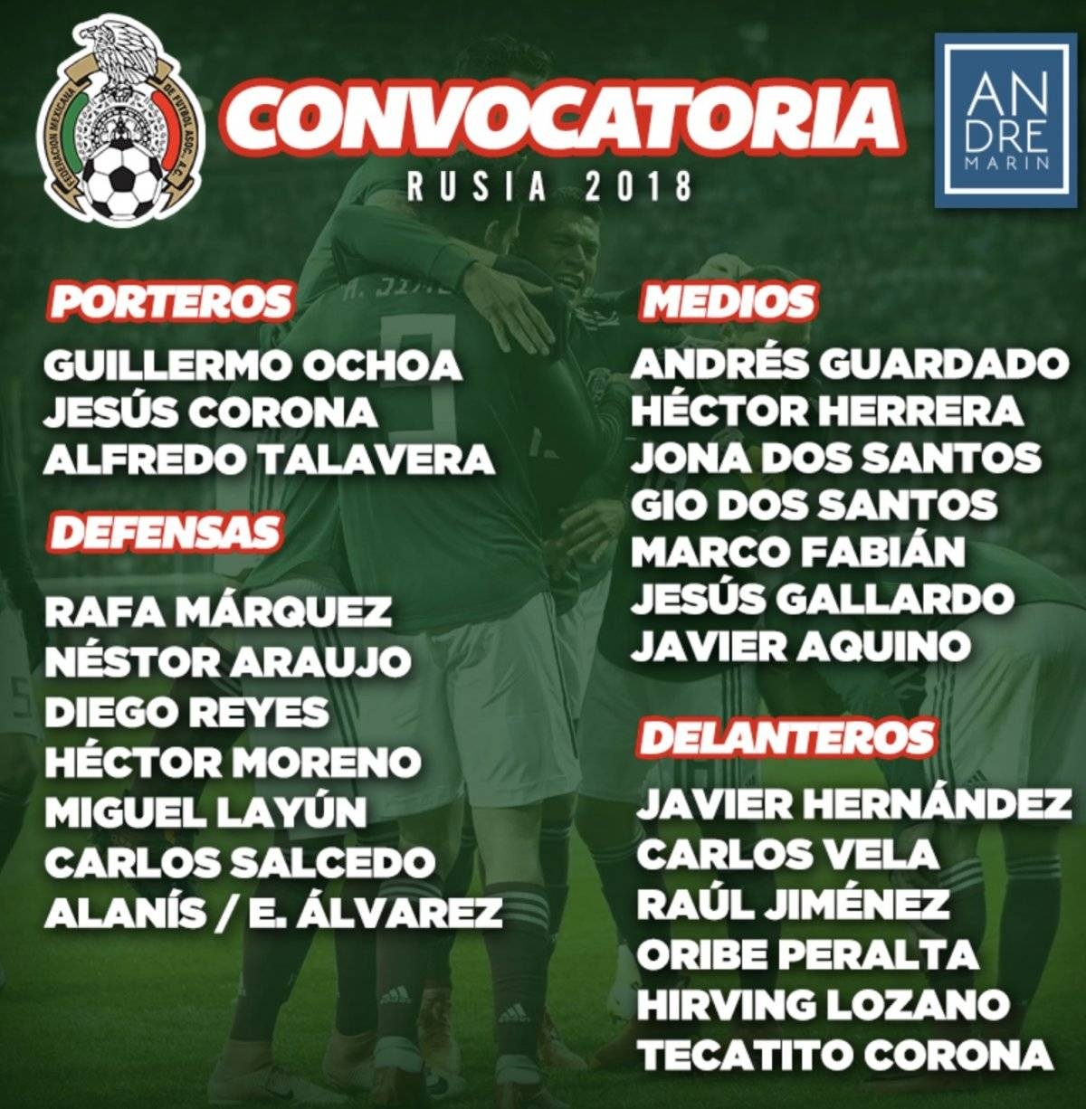 ¡Estos son los elegidos para representar a México en el Mundial!