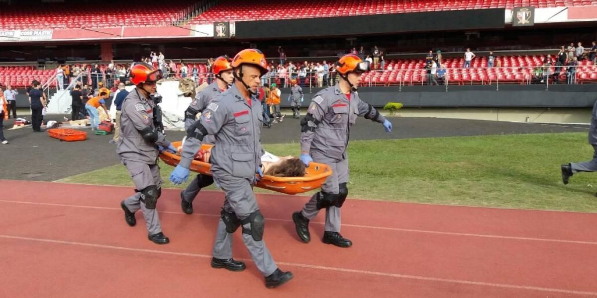 Forças de segurança realizam simulado de desastre no estádio do Morumbi