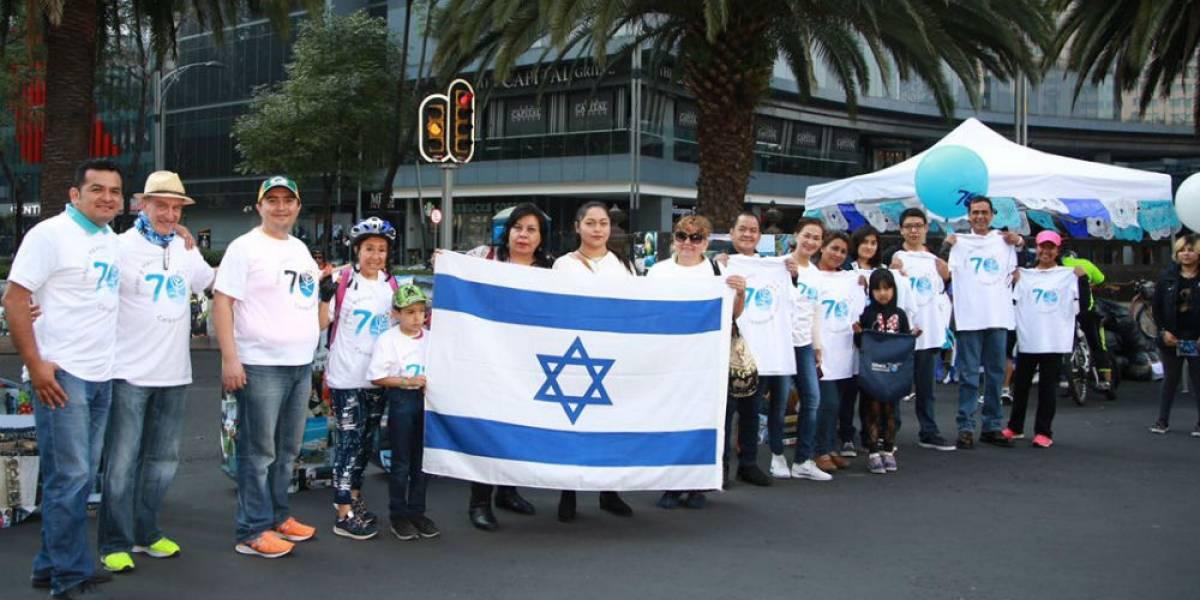 Reforma se pinta de azul y blanco por 70 años de independencia de Israel