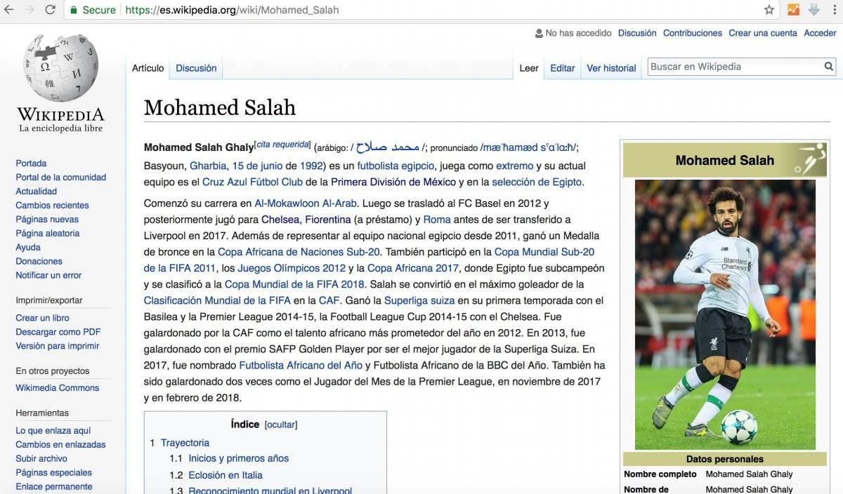 Wikipedia asegura nuevo equipo a Salah