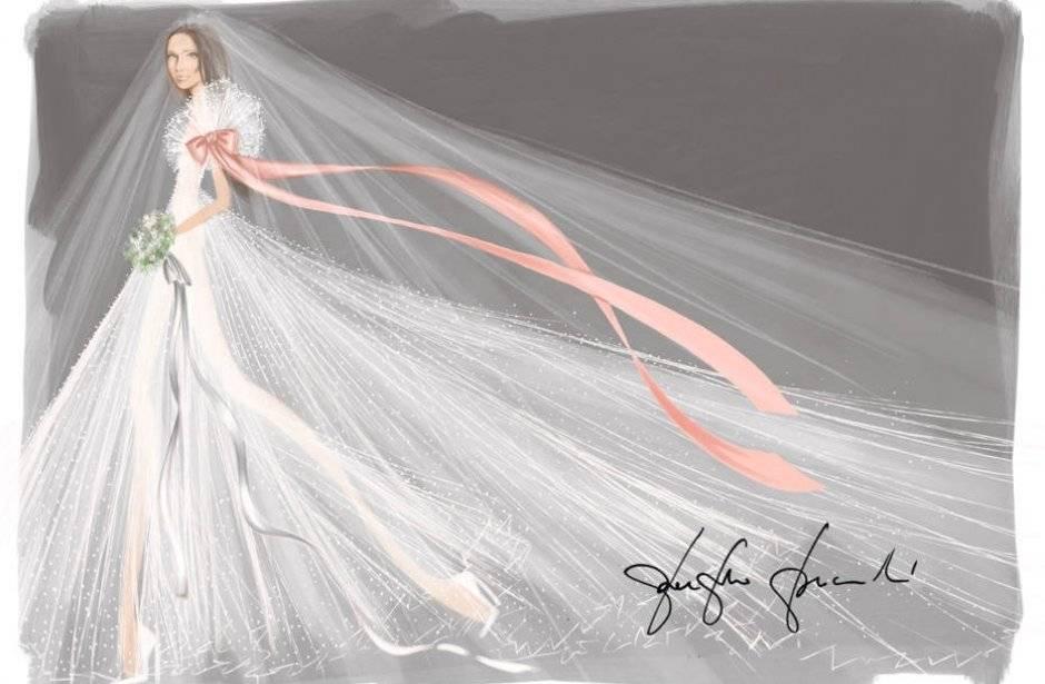Valentino Para o estilista Pierpaolo Picciolo, da Valentino, Meghan irá subir ao altar em um longo volumoso, com muito tule, e mangas bufantes decoradas com um laço de cetim cor de rosa Divulgação/ WWD