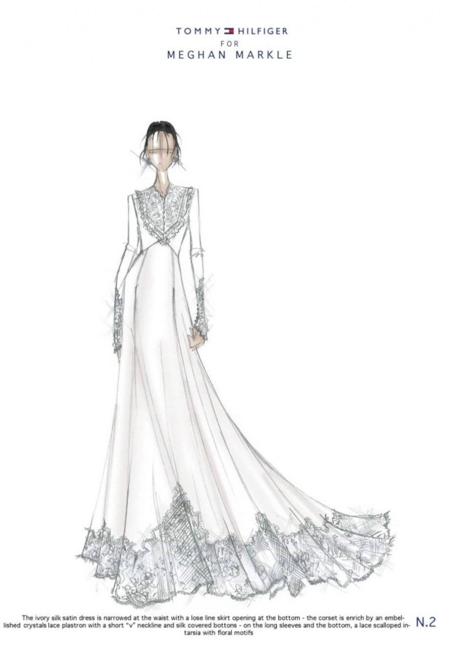 Para Tommy Hilfiger, estilista da marca que leva seu nome, Meghan irá clássica, com vestido de cetim com detalhes de renda Divulgação/ WWD