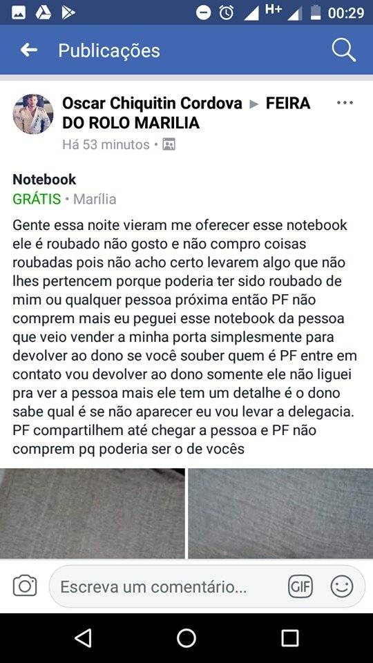 publicação do notebook roubado