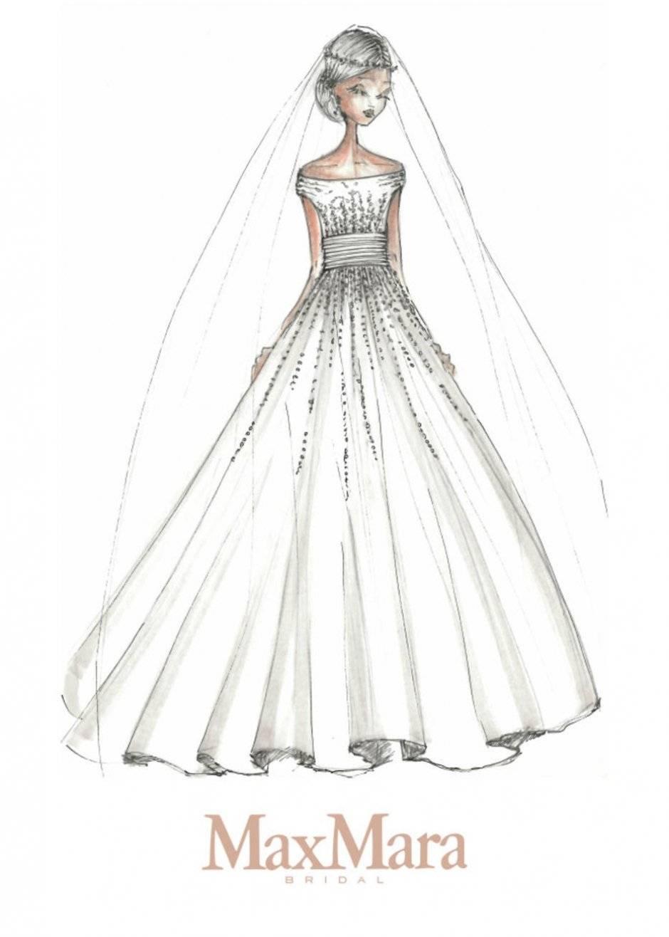 Max Mara sugere um estilo clássico princesa para a futura duquesa: vestido acinturado, com saia volumosa, com muitos bordados e ombros de fora Divulgação/WWD