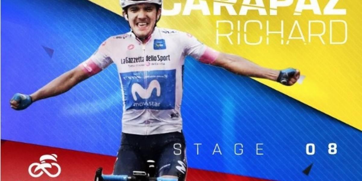 Richard Carapaz llegó en el puesto 11 de la etapa 11 del Giro de Italia