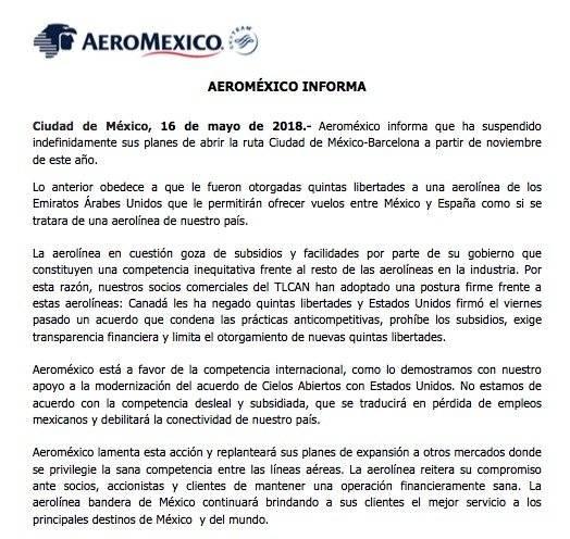 éste es el comunicado enviado por Aeroméxico