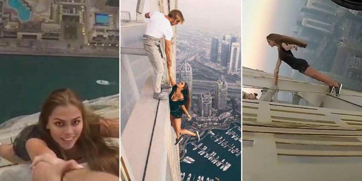 Desesperador: jovem faz vídeo a mais de 300 metros de altura sendo segurada apenas pelo braço