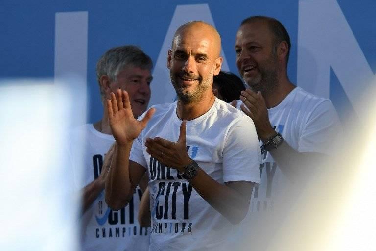 Guardiola en la celebración del último título del City