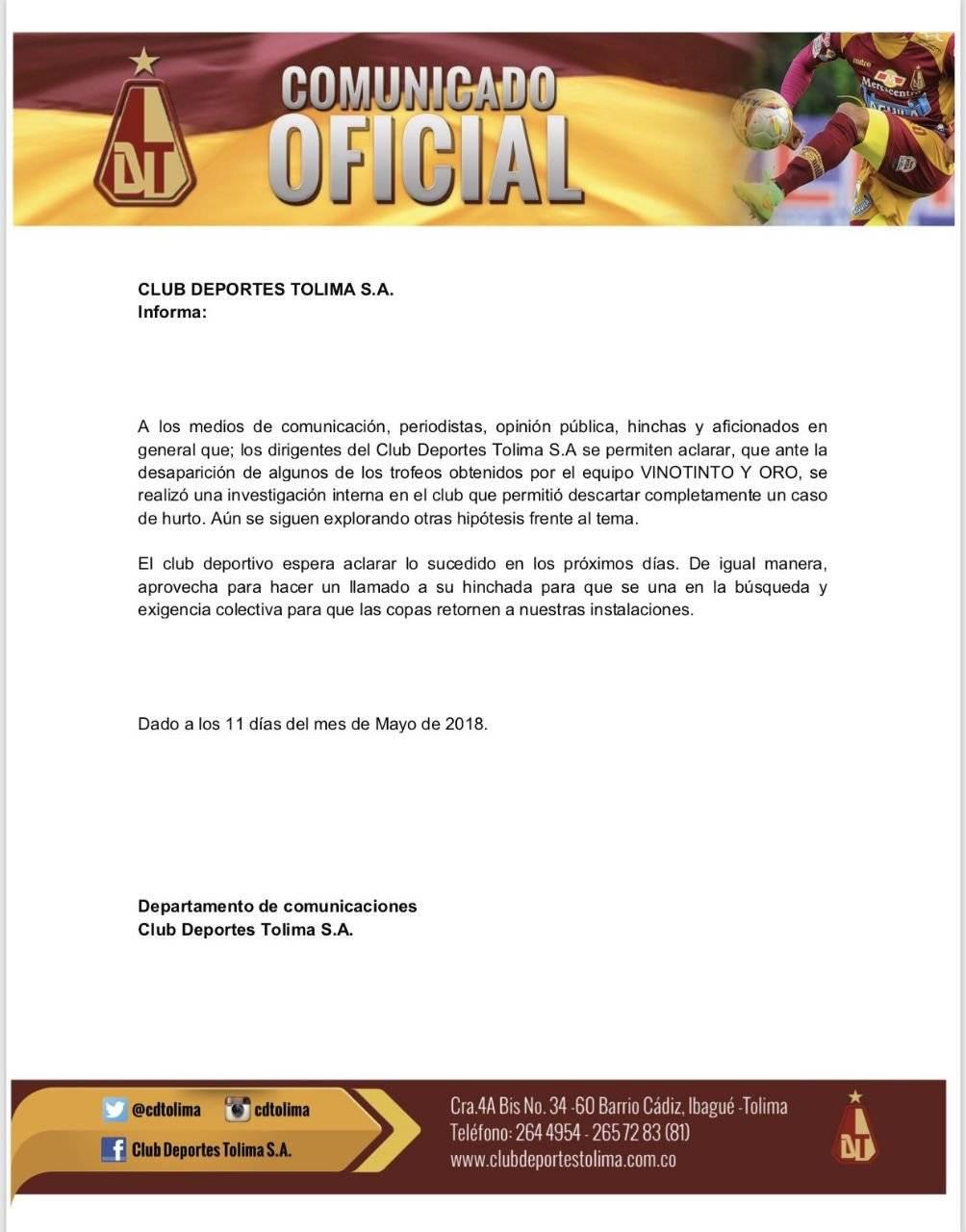 Comunicado oficial Deportes Tolima