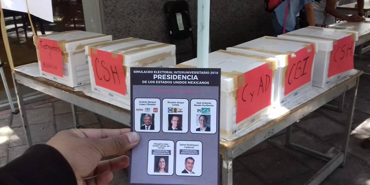 Universitarios dan victoria a AMLO en simulacro electoral
