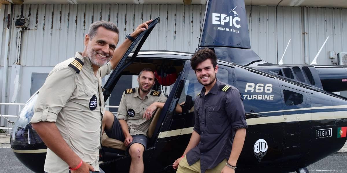 LLegan a Puerto Rico en medio de su travesía por el mundo en helicóptero