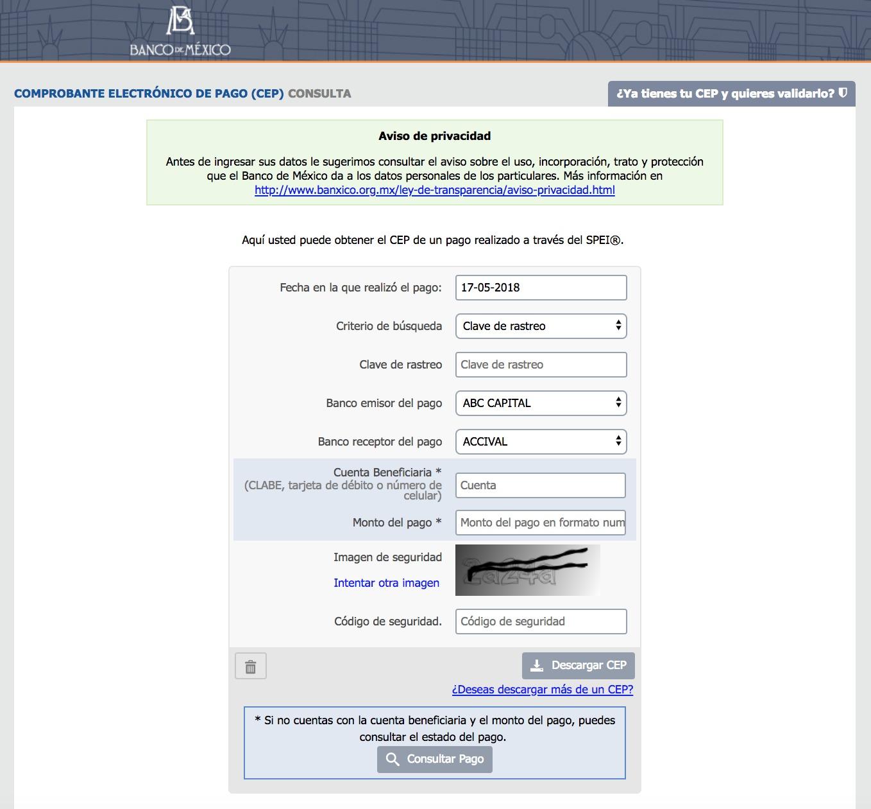 Aplicación para conseguir un Comprobante Electrónico de Pago