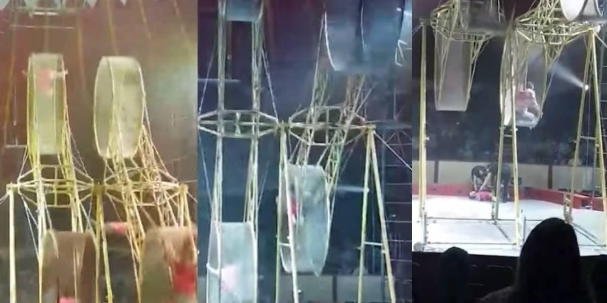 Video: acróbata colombiano pierde el equilibrio y cae desde una altura de 9 metros