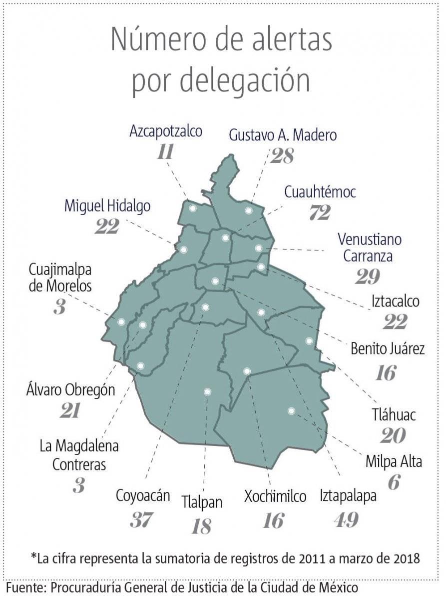 Mapa de delgaciones con alerta amber