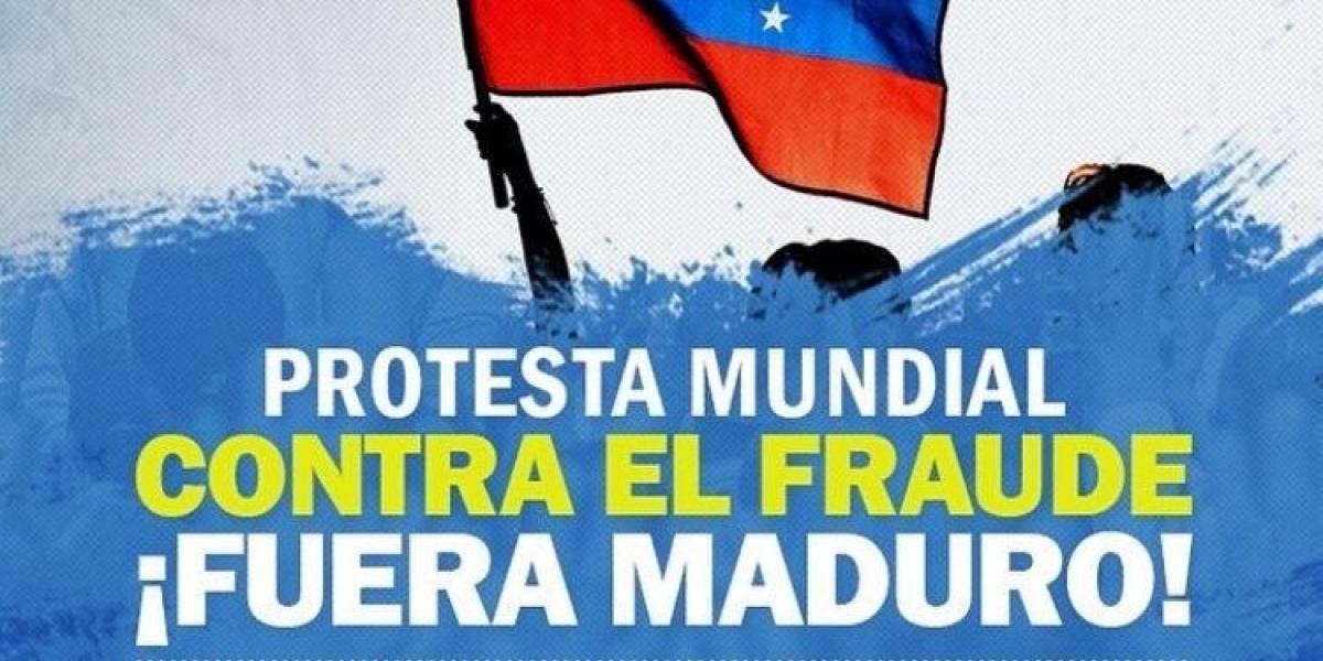 """Venezolanos protestan en el mundo por presunta """"farsa"""" electoral"""