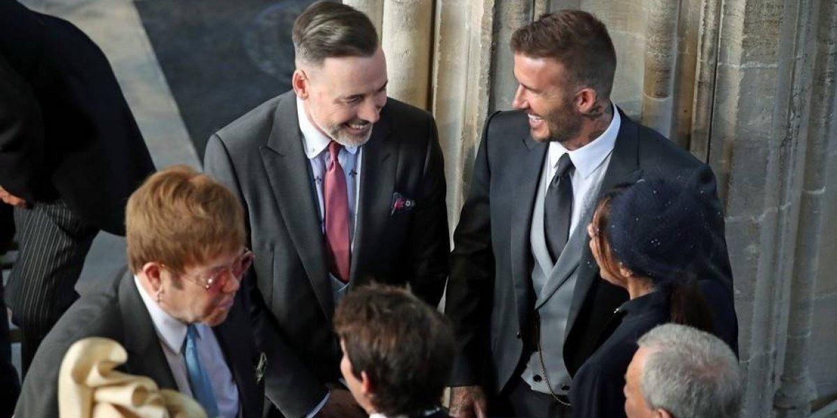 El particular gesto de Elton John luego de besar a David Beckham en la boda real