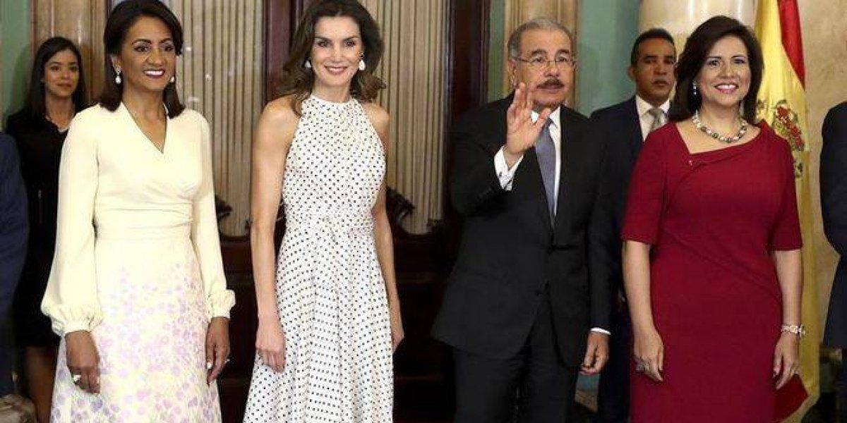 Danilo Medina recibe a la reina de España en Palacio Nacional