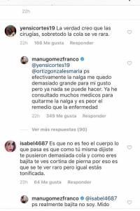 Captura de pantalla Instagram Manuela Gómez