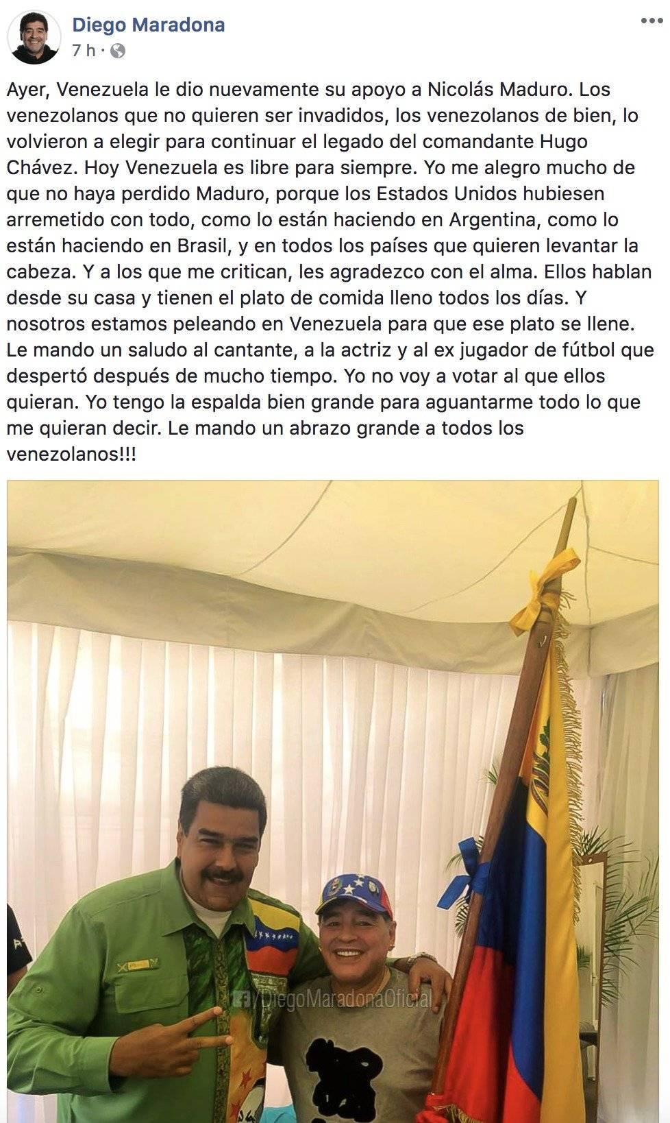 Nicolás Maduro y Maradona