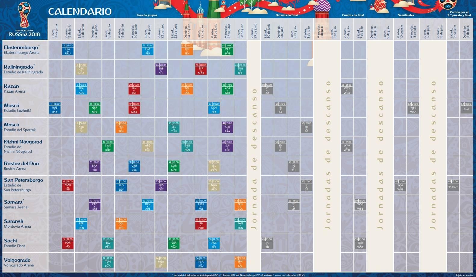 Calendario Mundial Rusia 2018.Como Tener Todo El Calendario Del Mundial De Rusia 2018