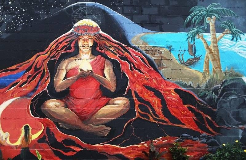Arte callejero. La imagen representa a Pelé, la diosa hawaiana del fuego. |getty