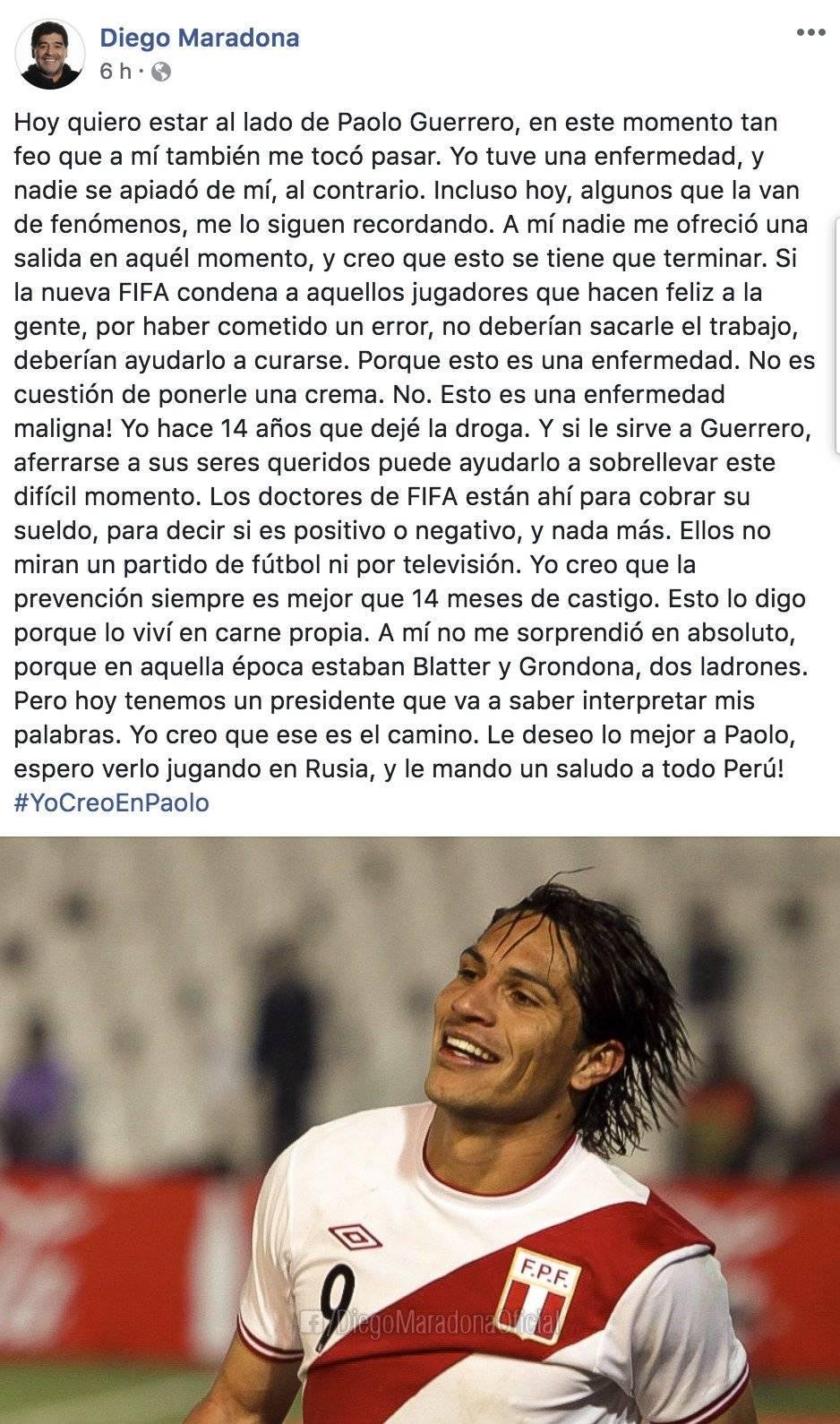 Mensaje de Maradona hacia Guerrero