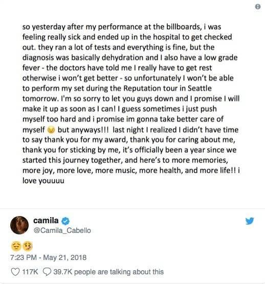 Camila Cabello pidiendo disculpas