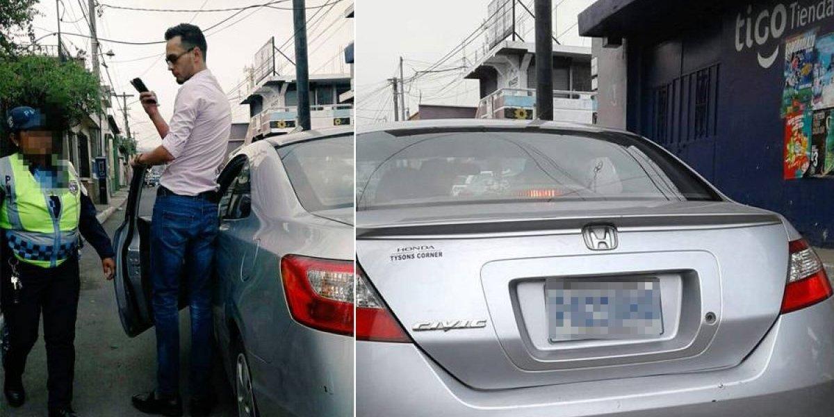 Conductor fue detenido por ir en contra de la vía y discrimina a agente PMT de Villa Nueva
