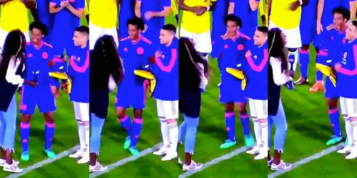 Juan Guillermo Cuadrado le coqueteó a Caterine Ibargüen en despedida de Selección Colombia