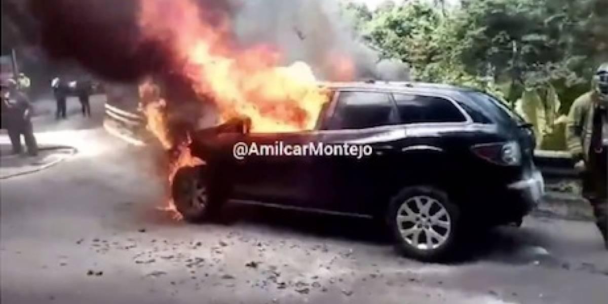 EN IMÁGENES. Así quedó la camioneta que ardió en llamas en Muxbal