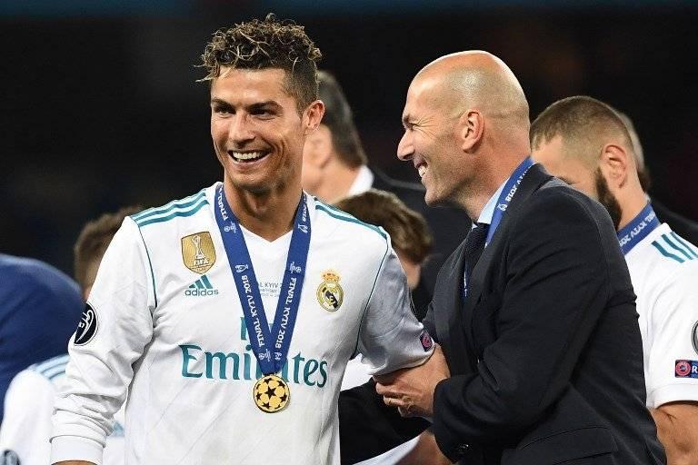 Cristiano junto a Zidane en la celebración del Madrid