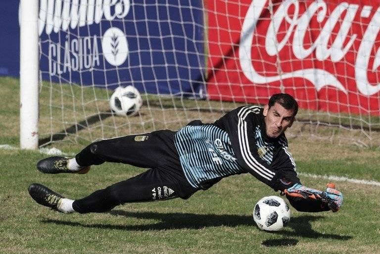 Guzmán durante una práctica de Argentina