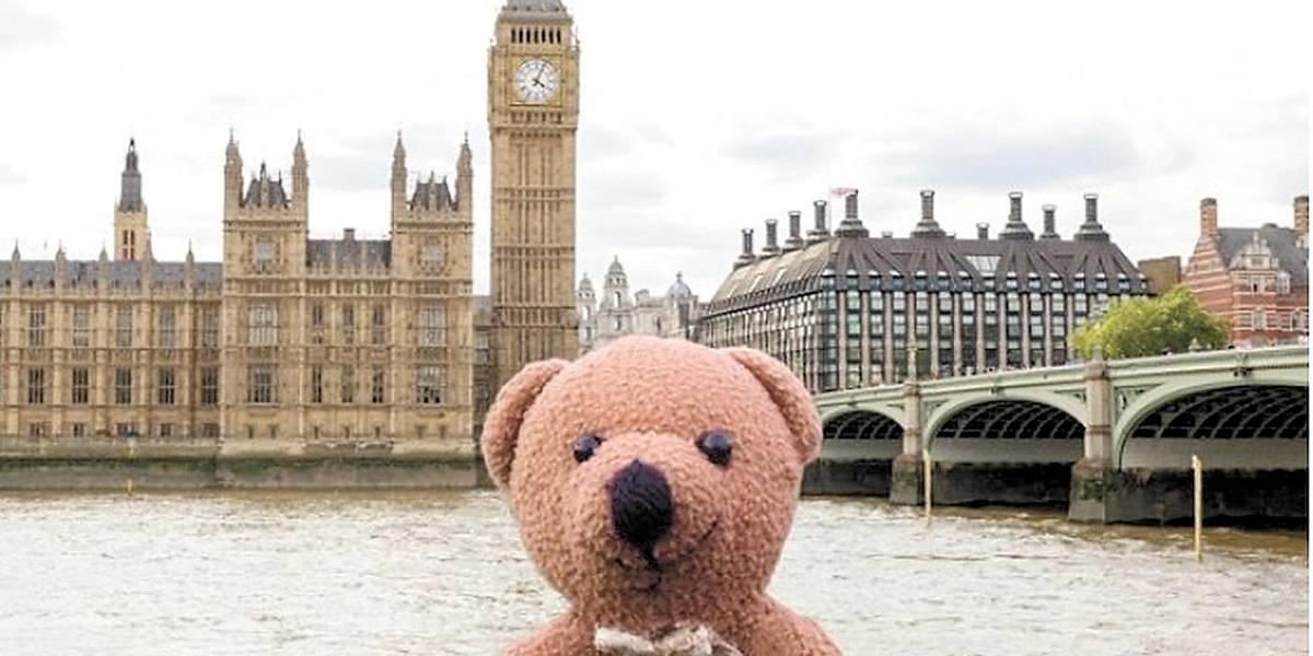 Urso de pelúcia ganha fama ao viajar o mundo