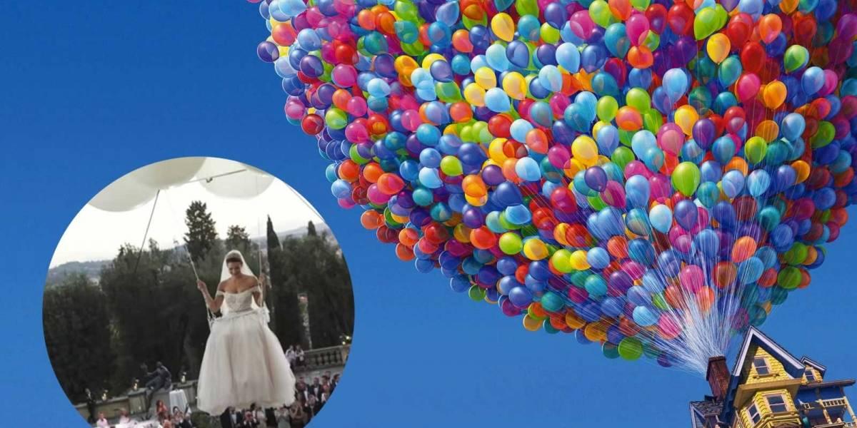 Al mejor estilo de la película UP de Disney, ésta novia llegó volando a su boda
