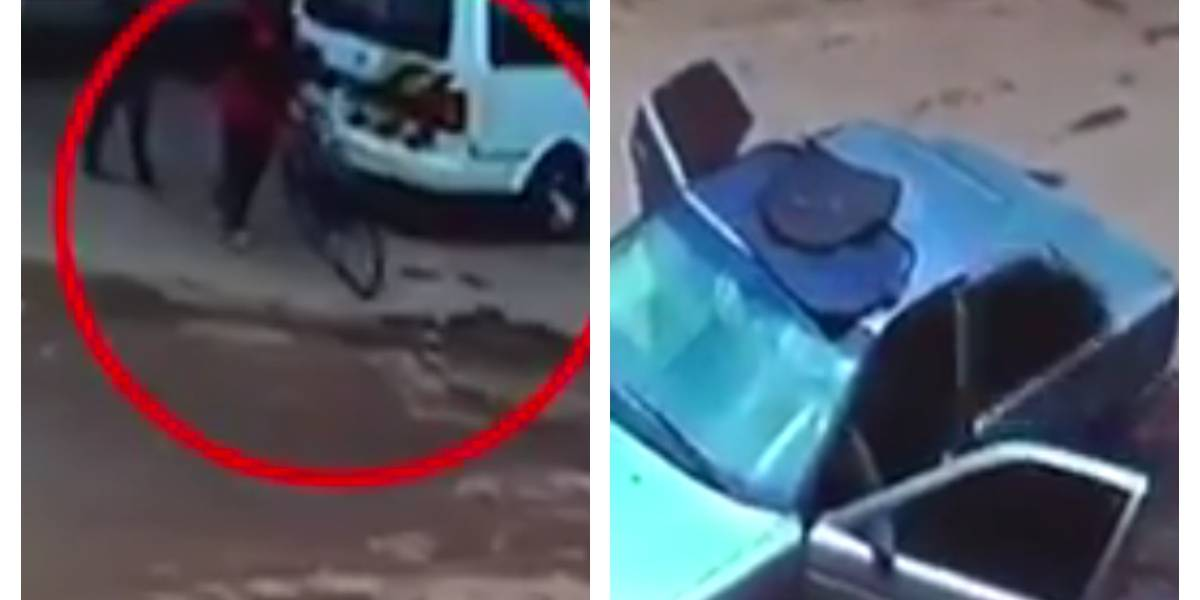 Video: atropelló a dos personas por robarse un carro en Bogotá