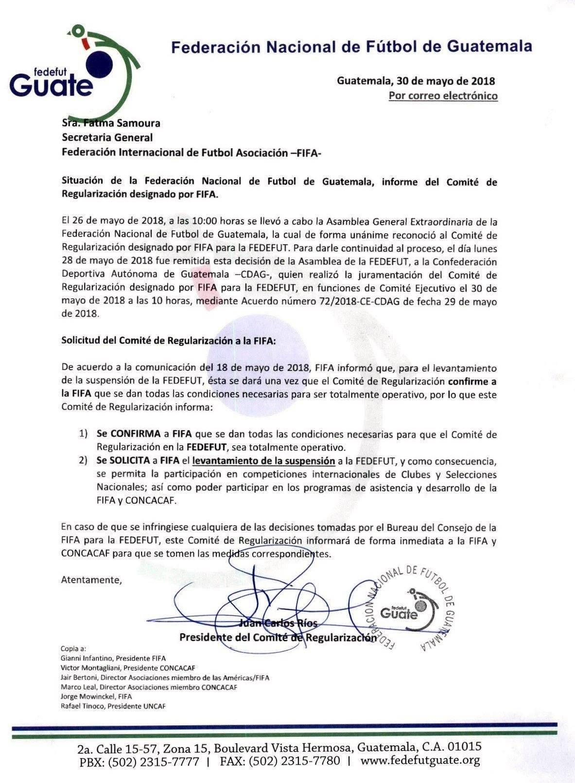 La carta enviada a la FIFA