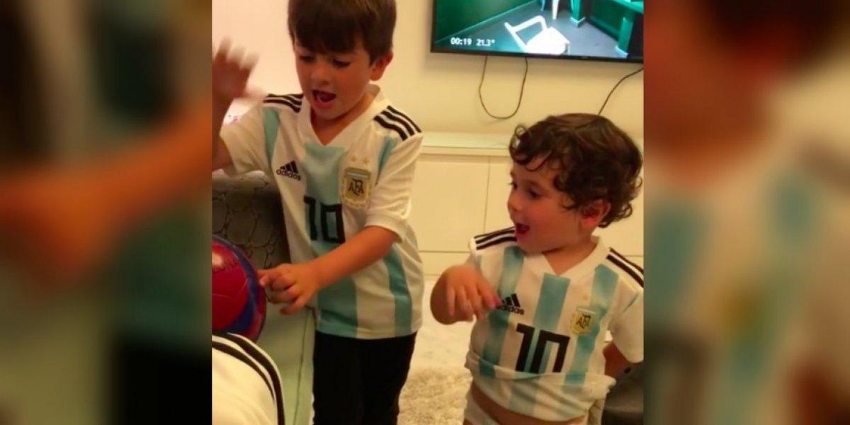 VIDEO: El apoyo de los hijos de Messi a Argentina