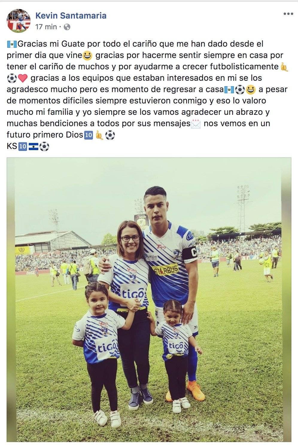 El mensaje que dejó Santamaría en su cuenta de facebook